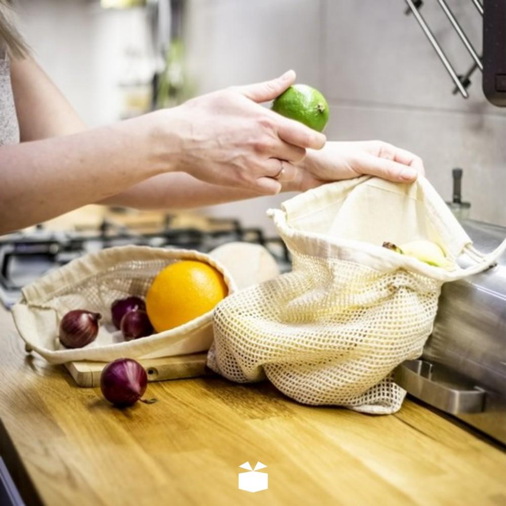 Bawełniany worek na owoce i warzywa z logo